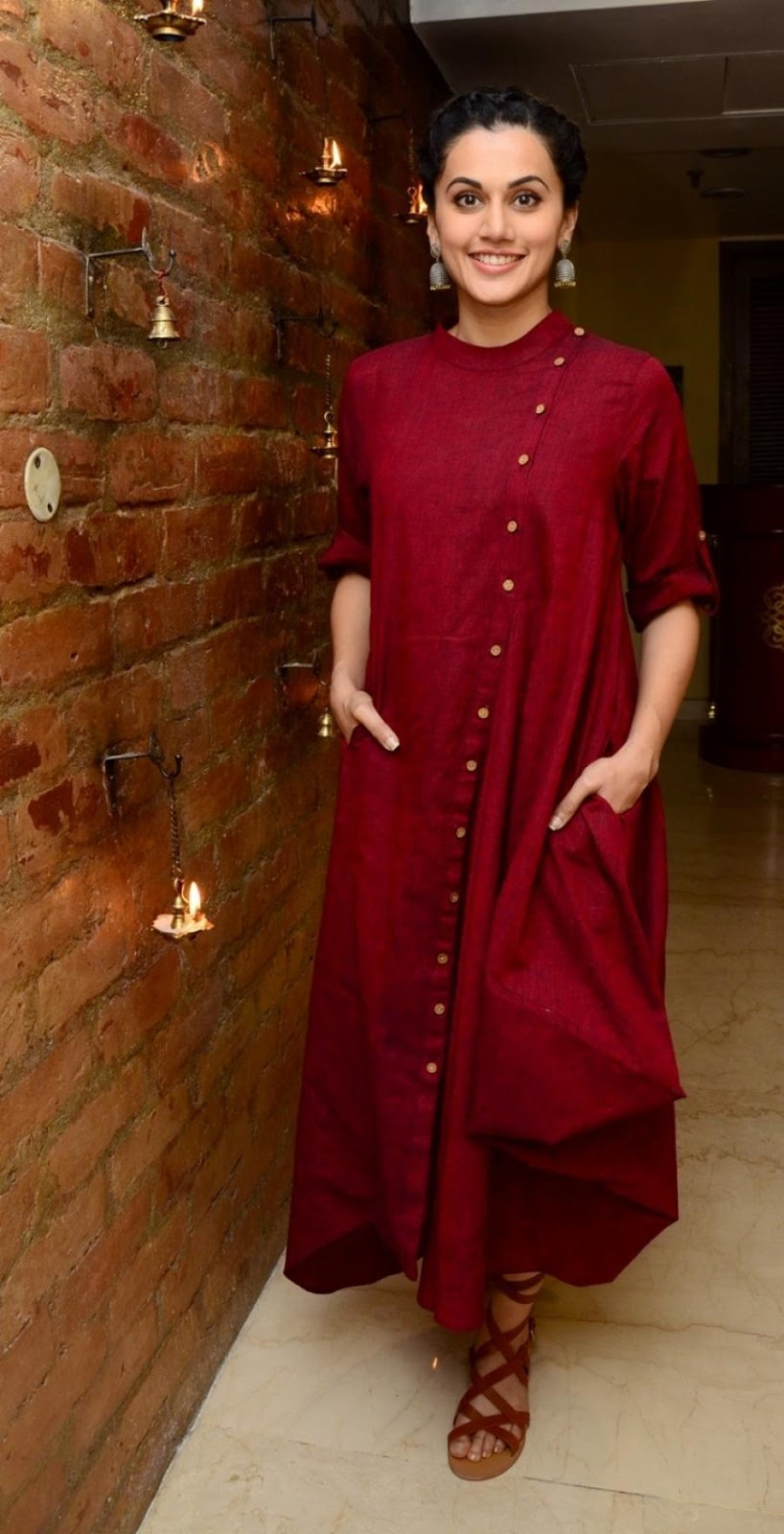 Actress Taapsee Pannu Photoshoot In Maroon Dress