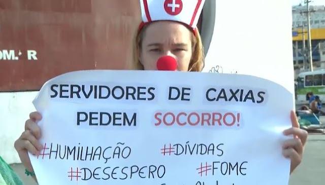 Sem salário, servidores de Duque de Caxias fazem protesto 2