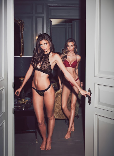 Taylor Hill and Josephine Skriver pose in Very Sexy Push-Up & Keyhole High-Neck Bras