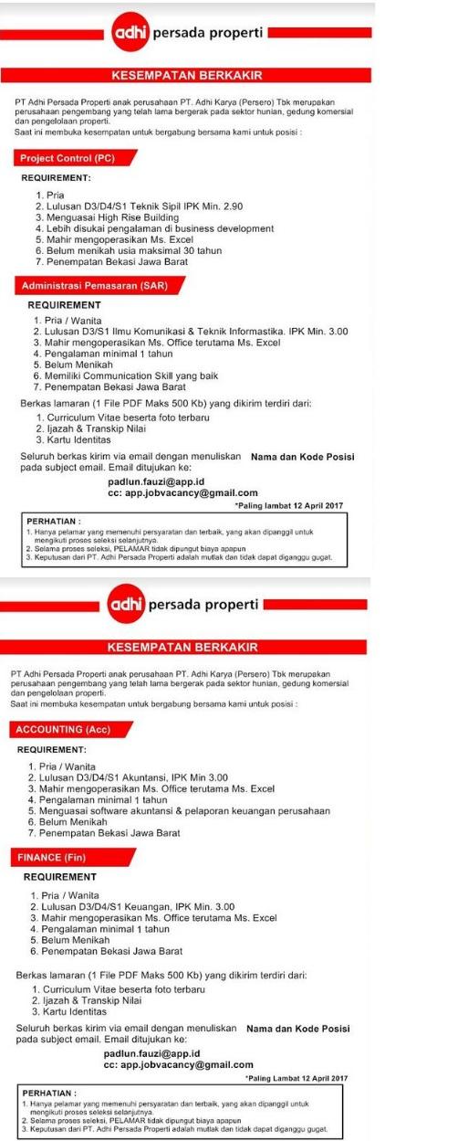 Lowongan kerja terbaru PT Adhi Persada Properti