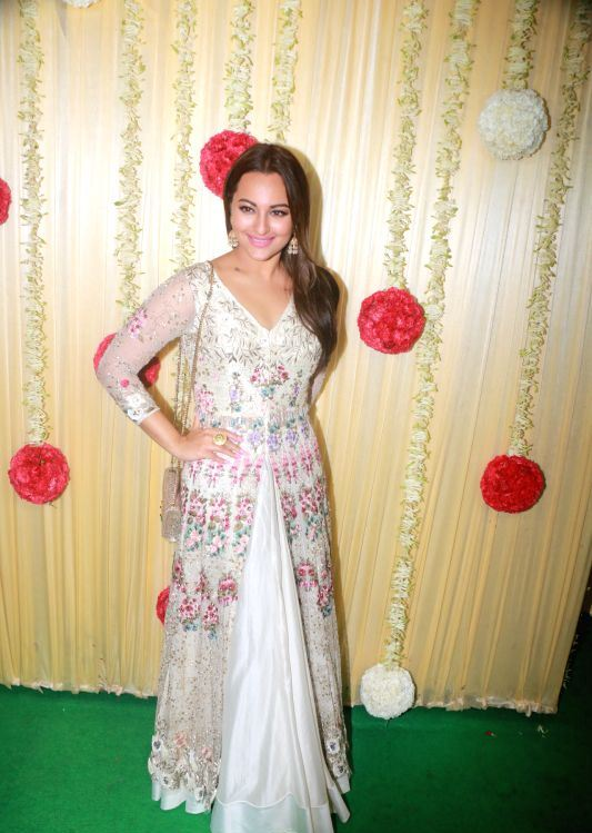 Sonakshi Sinha In White Dress At Diwali Party Celebrations
