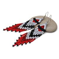купить Длинные серьги из бисера в этно / бохо стиле