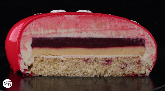 Le Red Dingue (entremets passion/framboise/vanille)