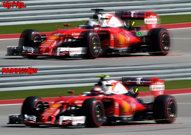 Immagine 2 - La differenza di assetti aerodinamici tra Raikkonen e <a href=http://www.formula1.it//pilota/72/vettel>Vettel</a> ad Austin 2016