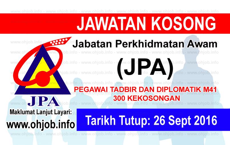 Jawatan Kerja Kosong Jabatan Perkhidmatan Awam (JPA) logo www.ohjob.info september 2016