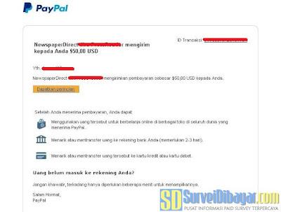 Bukti pembayaran dari online survey InsideHeads melalui PayPal | SurveiDibayar.com