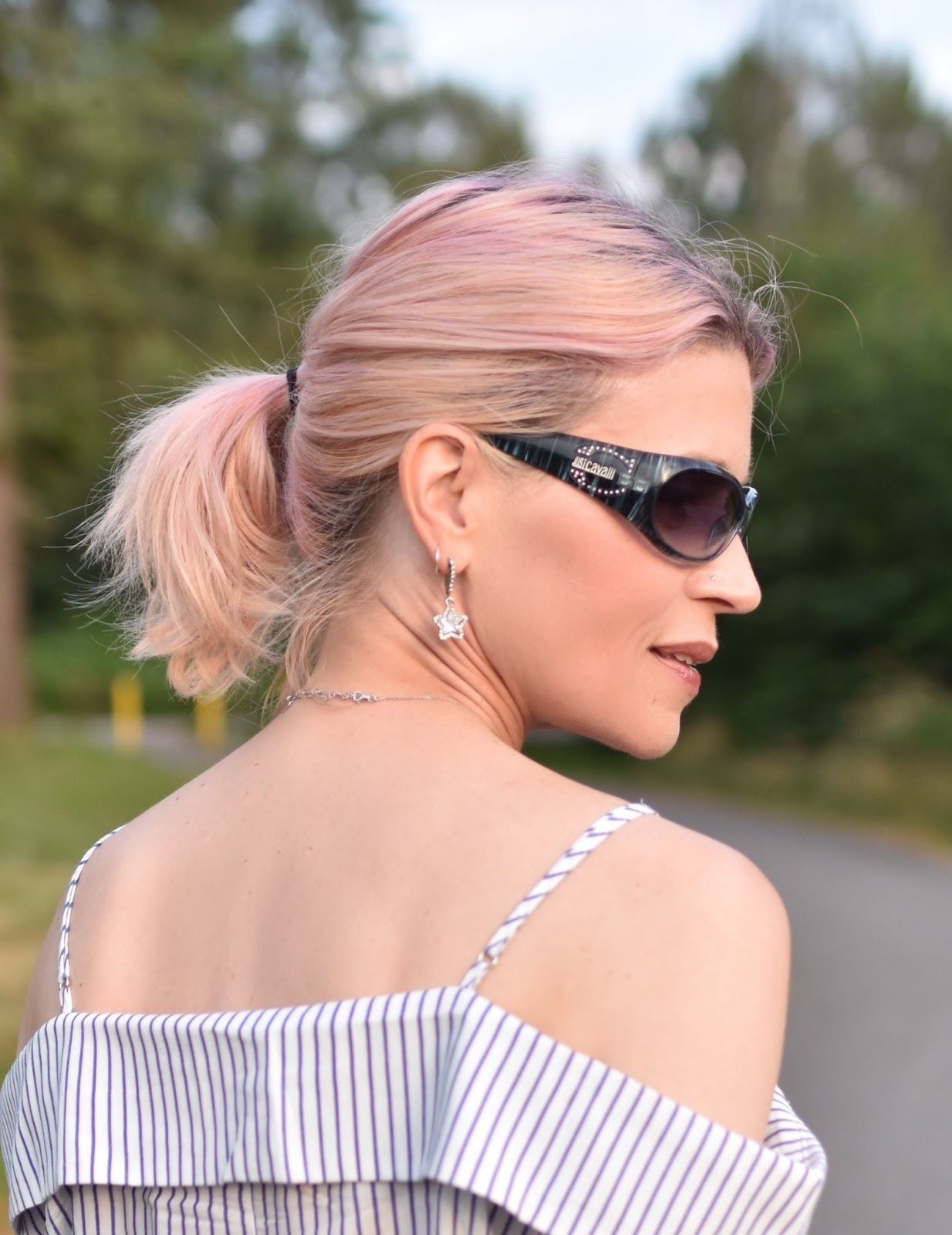 Monika Faulkner personal style inspiration - off-the-shoulder striped shirt, Just Cavalli sunglasses, pink hair