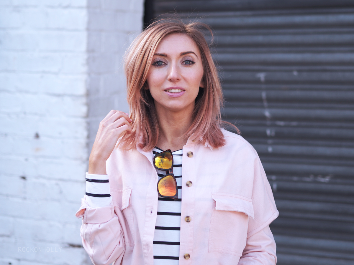ASOS Pink Denim shirt on the Rock On Holly Blog