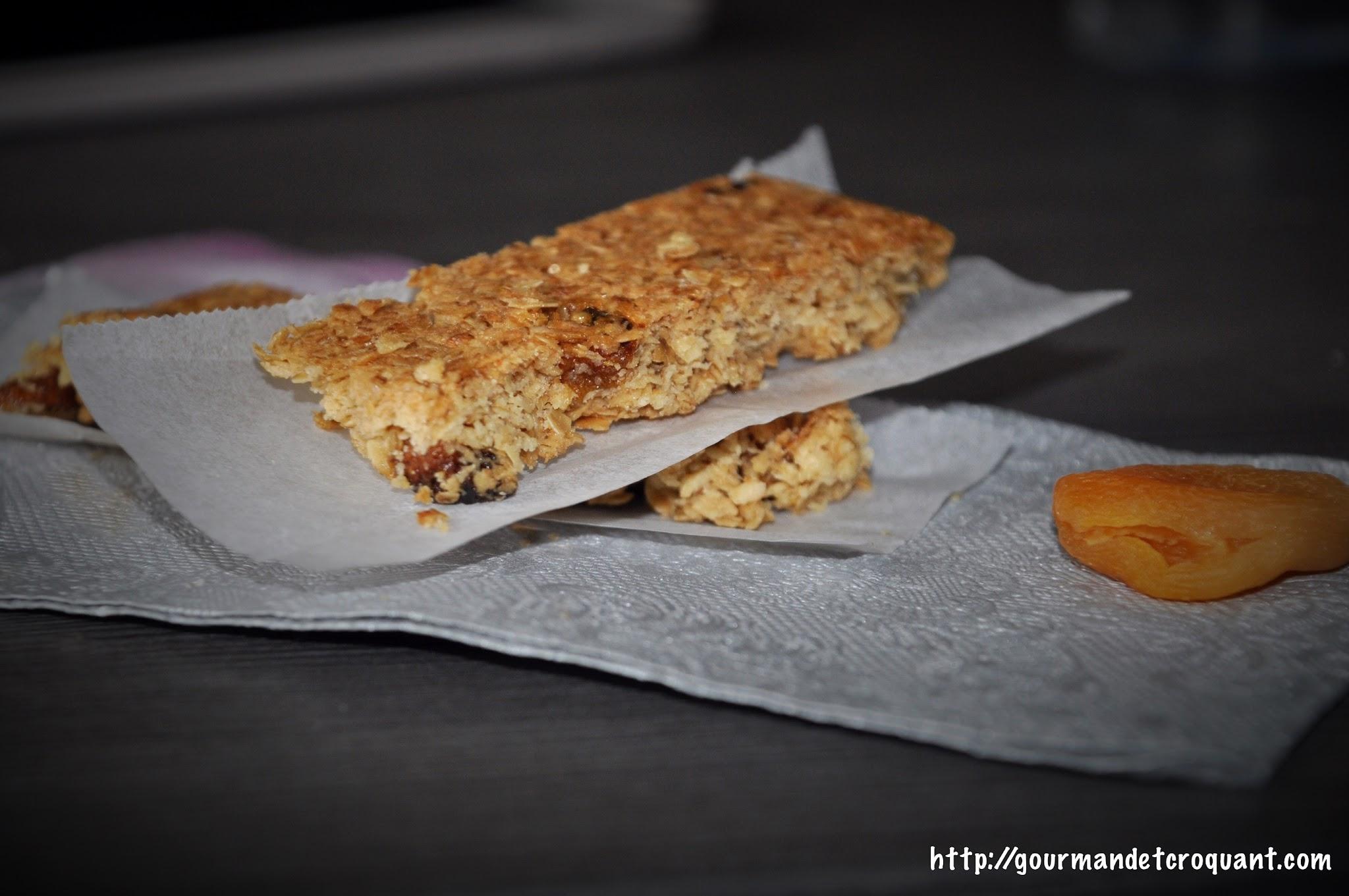 barres de céréales avoine et abricots séchés