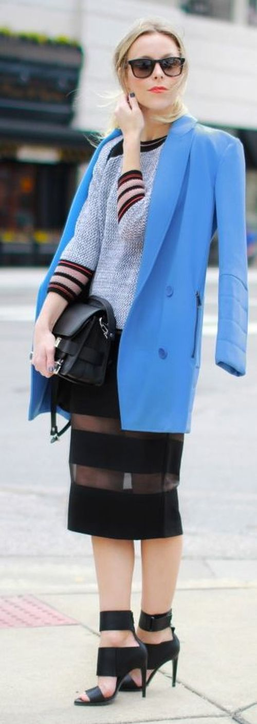 street style: sky blue coat and sheer black skirt