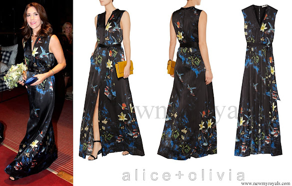 Crown Princess Mary wore ALICE + OLIVIA Marianna printed silk-blend maxi dress