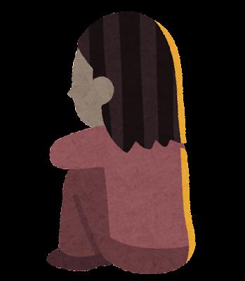 体育座りをする人の後ろ姿のイラスト(女性)