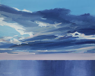 An acrylic painting of clouds over Lake Ontario at sunset.