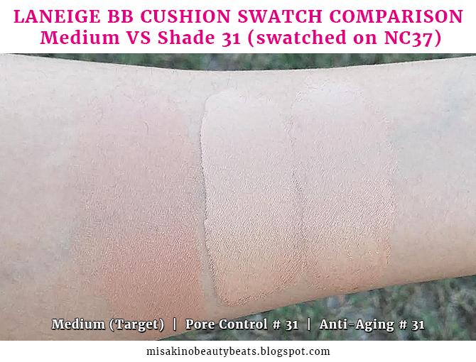 Comparison Swatch Laneige Target Medium Vs Laneige Pore Control