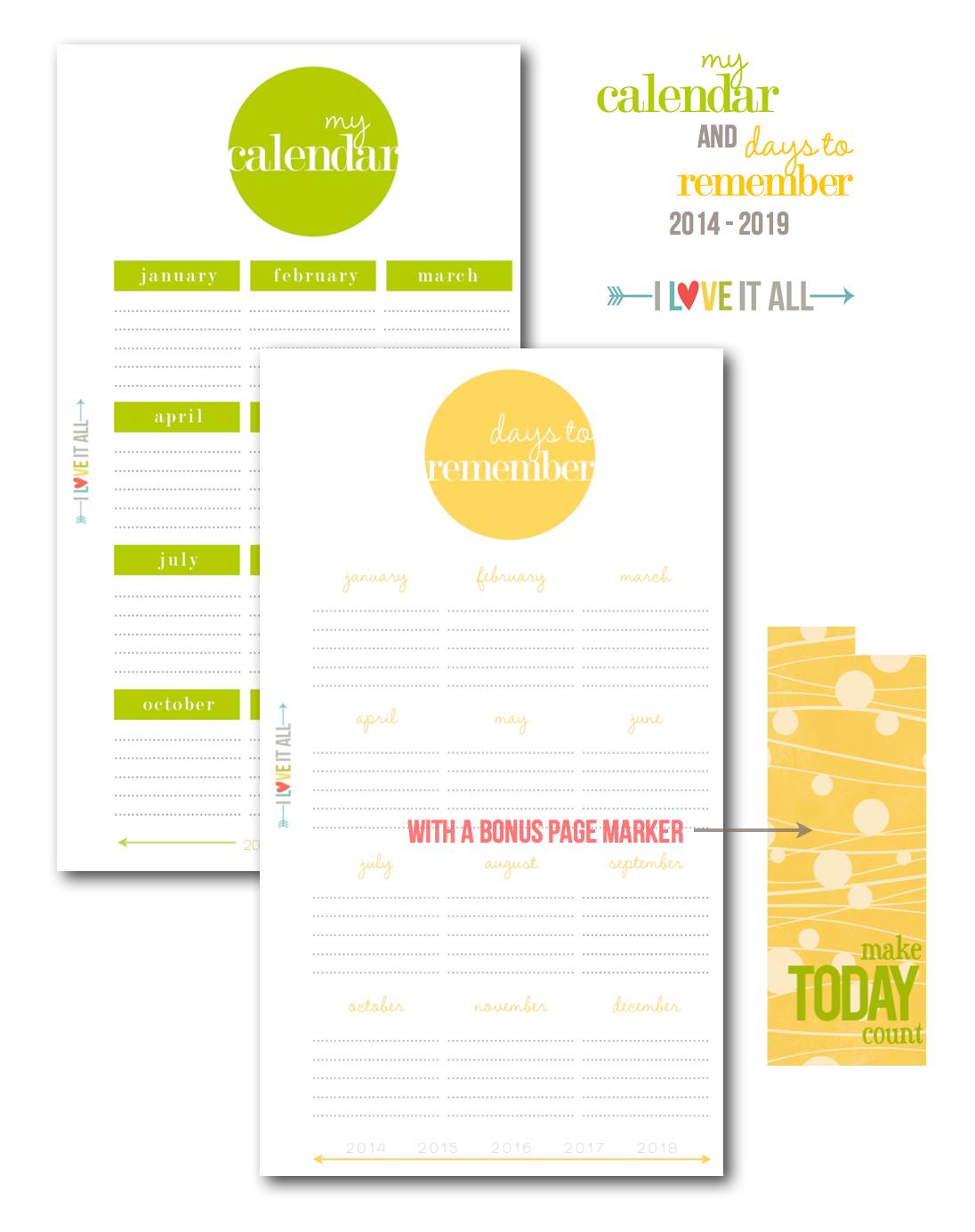 Filofax Planner Calendar Printables