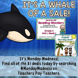 Whale of a Sale on Teachers Pay Teachers.  A different sale each day.