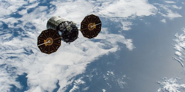 "From Feb. 8, 2019 when Northrop Grumman's ""S.S. John Young"" Cygnus spacecraft left the International Space Station after delivering approximately 7,400 pounds of cargo to astronauts on board. The spacecraft successfully completed its tenth cargo supply mission to the International Space Station on Feb. 25. (Credit: NASA)"