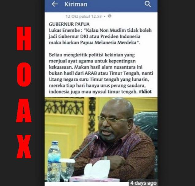 Inilah Bantahan Gubernur Papua Terkait Berita Fitnah Dirinya Ancam Papua Merdeka Jika Ahok Tidak Jadi Gubernur DKI