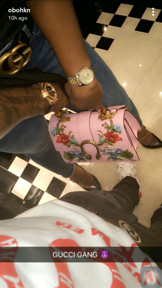 "#Guccigang – Davido and ""girlfriend"" show off matching Gucci swag"