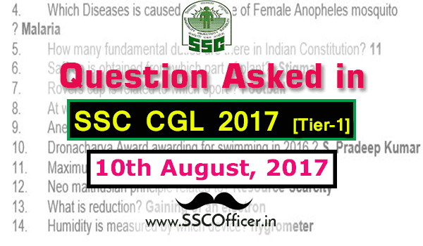 Question Asked in SSC CGL 2017 Tier-1 on 10th August- [PDF]- SSC Officer
