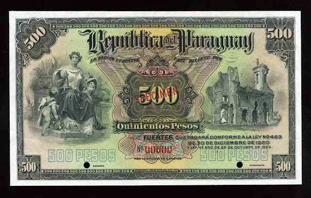 World paper money Paraguay Currency 500 Pesos banknote bill