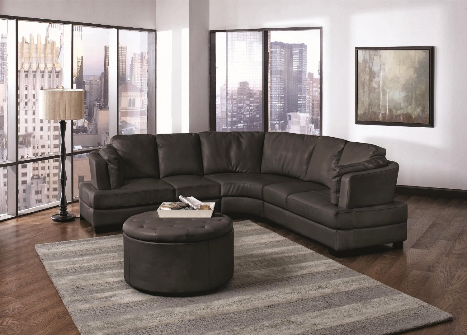 Buy Curved Sofa Online: Curved Leather Sectional Sofa