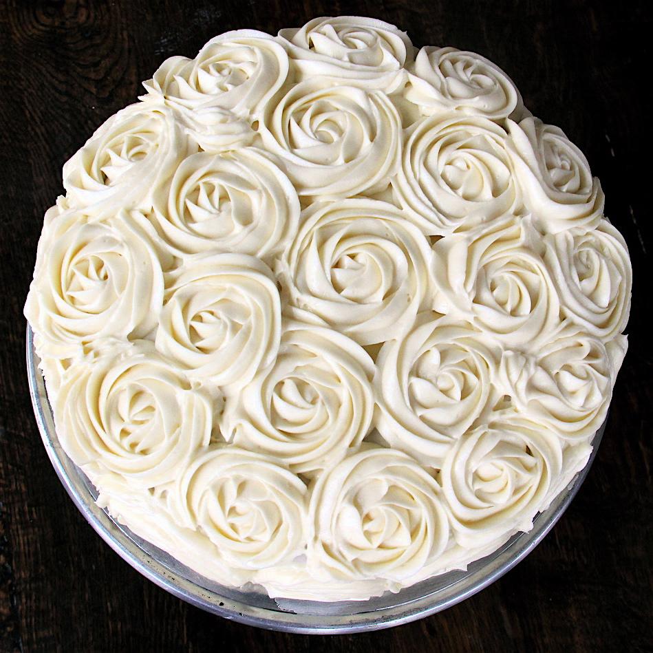 Red Buttercream Roses Cake