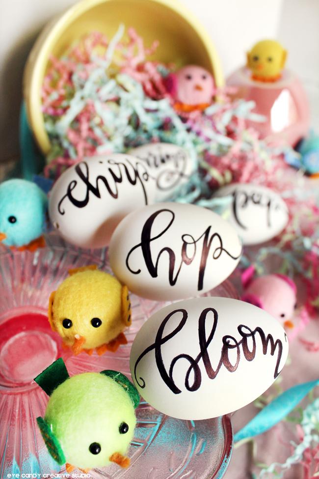 custom lettered easter eggs, personalized easter eggs, chicks, easter
