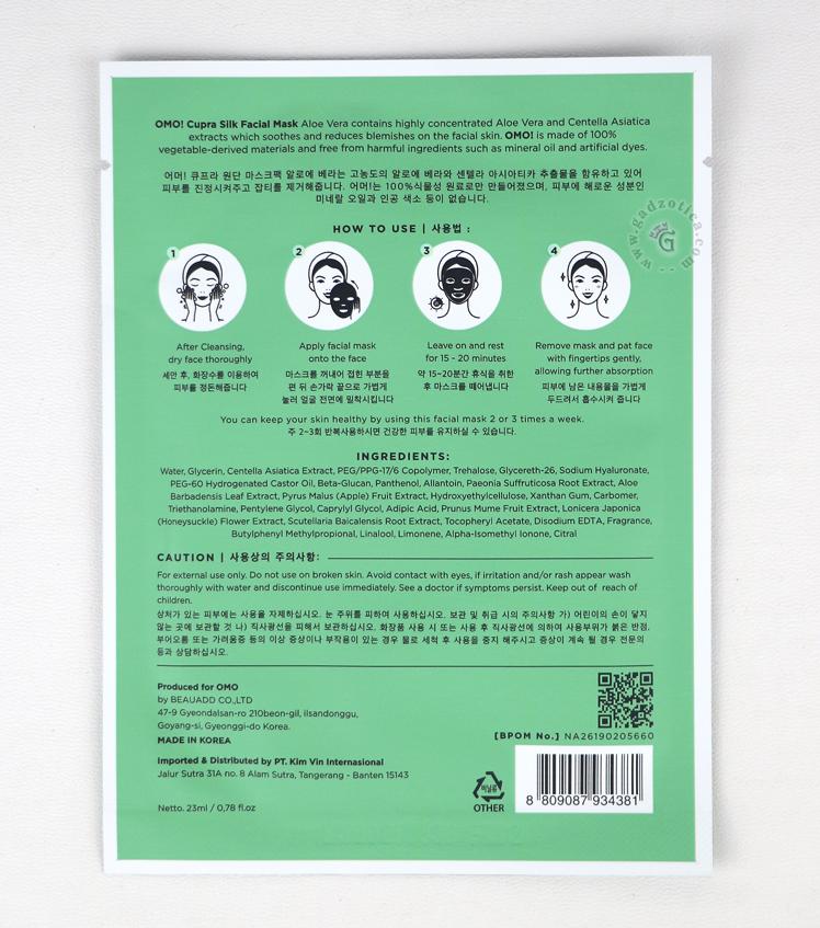 ingredients omo mask sheet aloe vera
