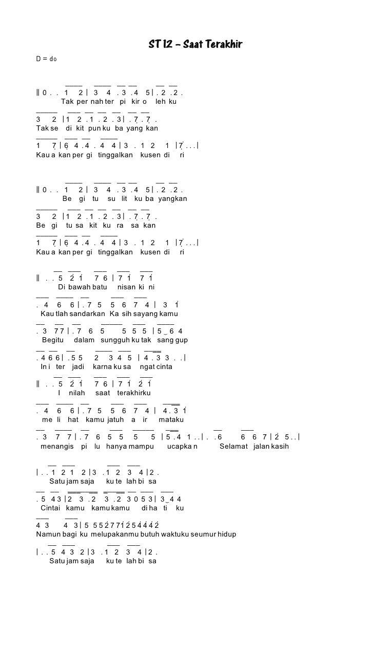 Chord St12 Saat Terakhir : chord, terakhir, Angka, Pianika, Terakhir