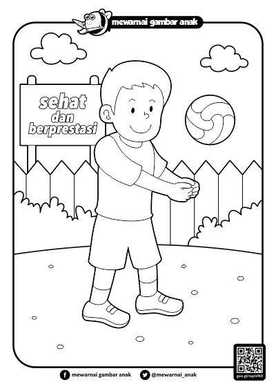 Mewarnai Gambar Anak: Mewarnai Gambar Bermain Bola Voli