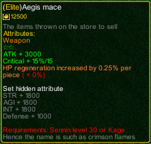 naruto castle defense 6.0 Item Elite Aegis Mace detail