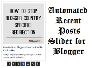 Automated Recent Posts Slider for Blogger