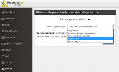 withdraw propellerads earnings via paypal