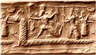 Marduk, assyrischer Gottvater  (mit Vajra) und Tiamat