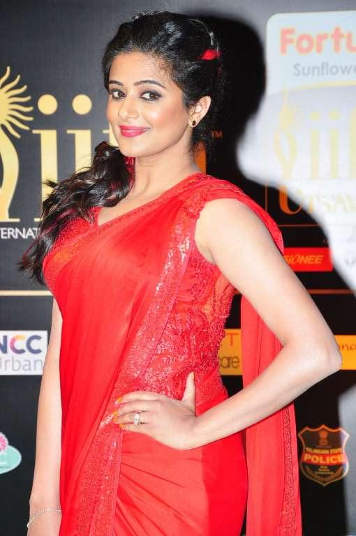 Priyamani stood out in a red sari