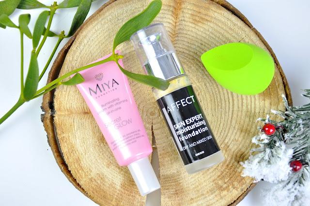 rozświetlająca baza miya cosmetics secret glow, podkład affect skin expert moisturizing foundation, gąbeczka practk power blender