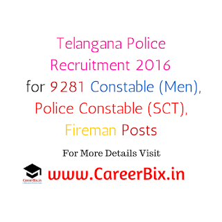Telangana Police tslprb.in 2016 Recruitment for 9281 Constable (Men), Police Constable (SCT), Fireman Posts