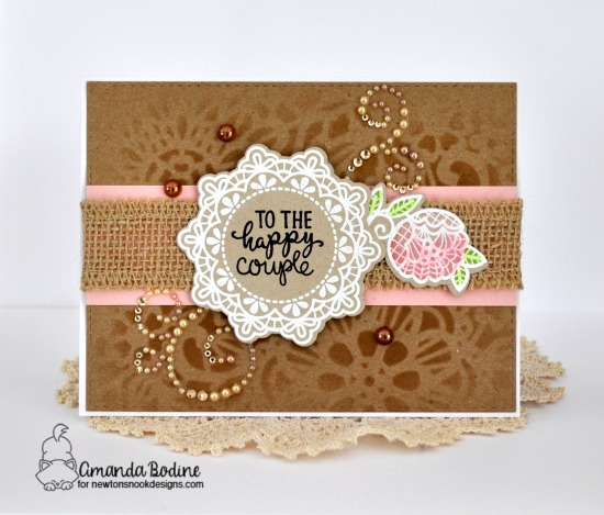 Wedding Card by Amanda Bodine | Wedding Frills Stamp Set & NEW Floral Lace Stencil by Newton's Nook Designs #newtonsnook #handmade