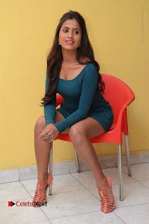 Telugu Actress Prasanthi Stills in Green Short Dress at Swachh Hyderabad Cricket Press Meet  0090.JPG