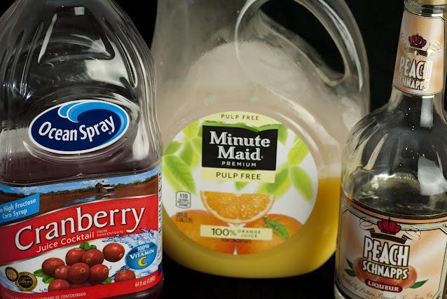 Georgia Peach cocktail, peach schnapps, cranberry juice orange juice