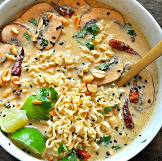 Vegan Spicy Thai Peanut Ramen #veganspicy #spicythai