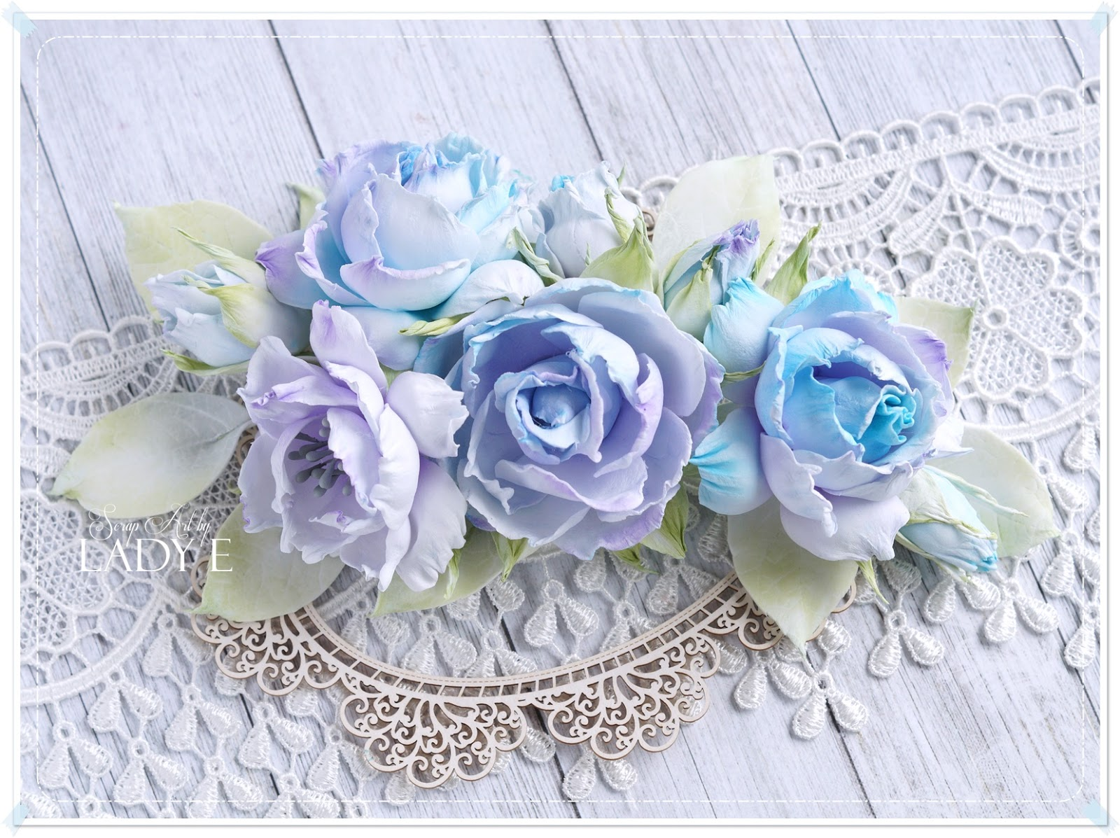 Shabby Chic Silk Foam Flowers Scrap Art By Lady E