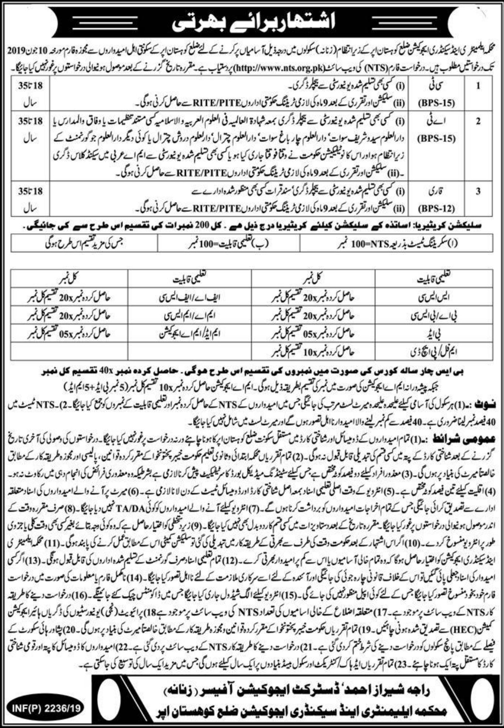 Elementary and secondary Education Department Jobs 2019