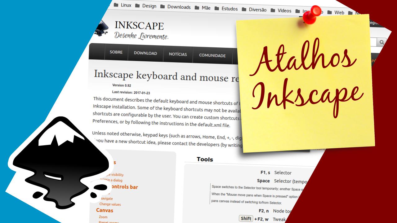 Atalhos para as Ferramentas do Inkscape