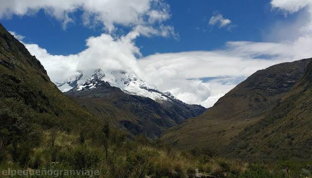 vista, nevado, pico, Huascaran