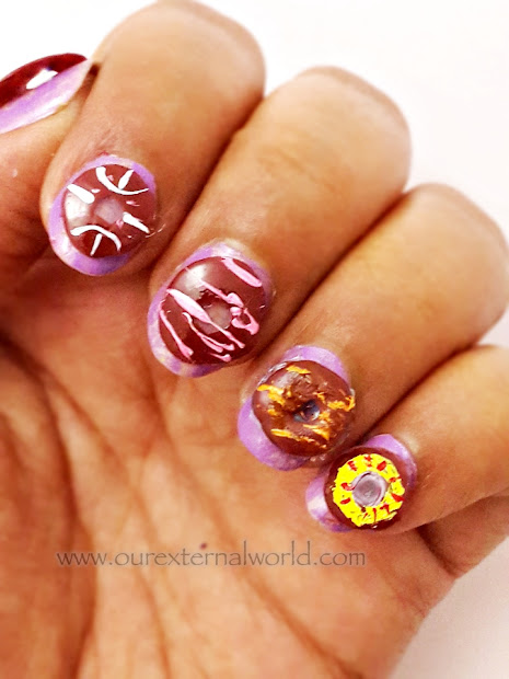 3d donut nail art