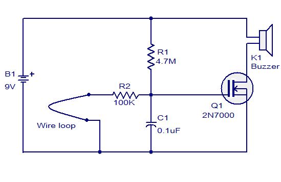wire loop alarm based on 2n700 audio wiring diagram. Black Bedroom Furniture Sets. Home Design Ideas