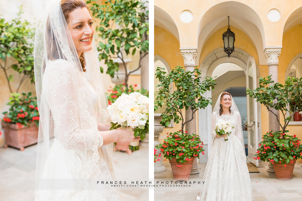 Bride infront of entrance of Villa Fraulo