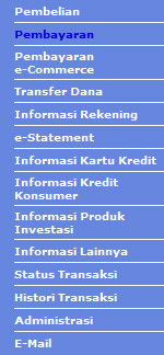 Menu Internet Banking BCA